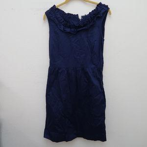 J.Crew Blue Sleeveless Ruffle Neck Tunic dress